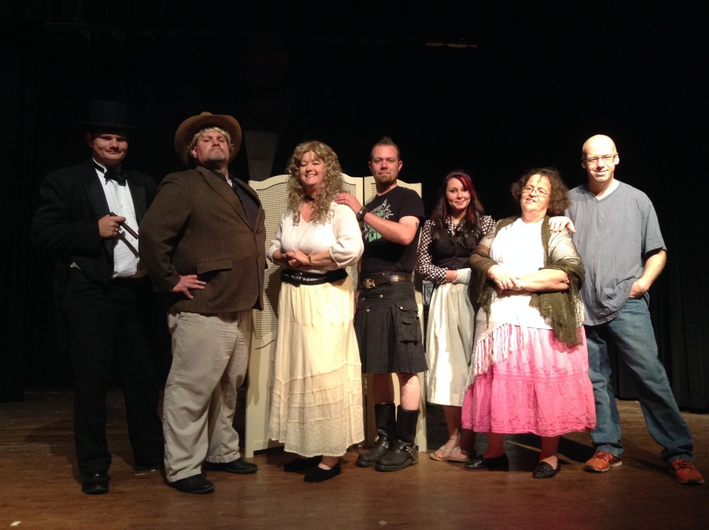 (l-r) Jacques La Rue – Hayden Topliff; Lieutenant Alan Wextad – Wade Mattsfield; Polly Montclair – Terri Whitsell; Trusted Ike – Jim Clemens; Charming Mimi – Paige Davis; Swamp Crone – Cretia Ussery; and Lazlo the Drunk – AJ Hufstetler.