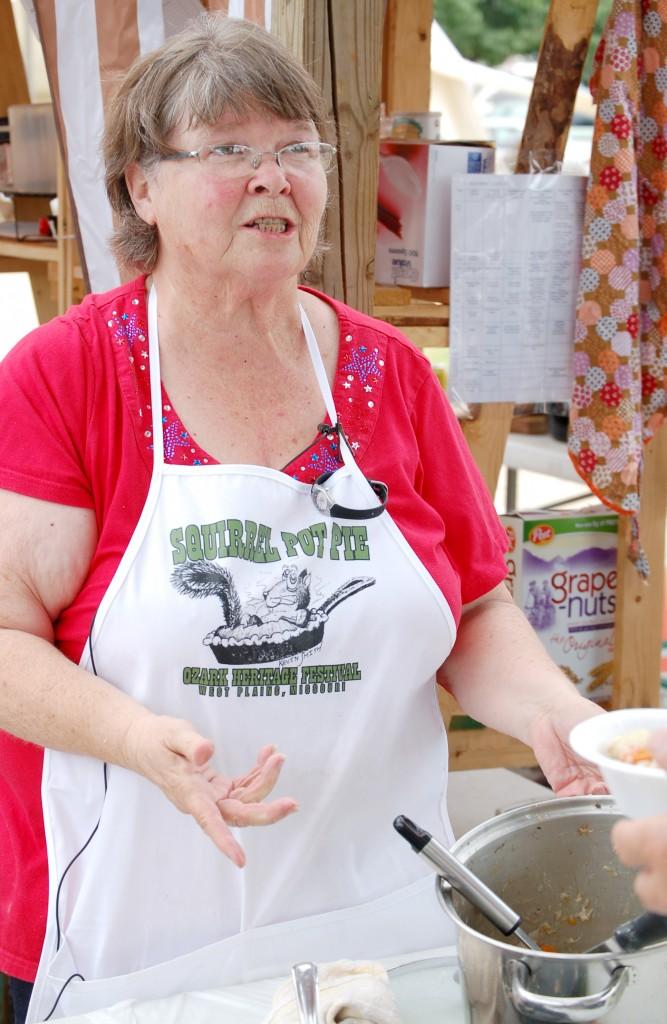 Judy Harden making squirrel pot pie